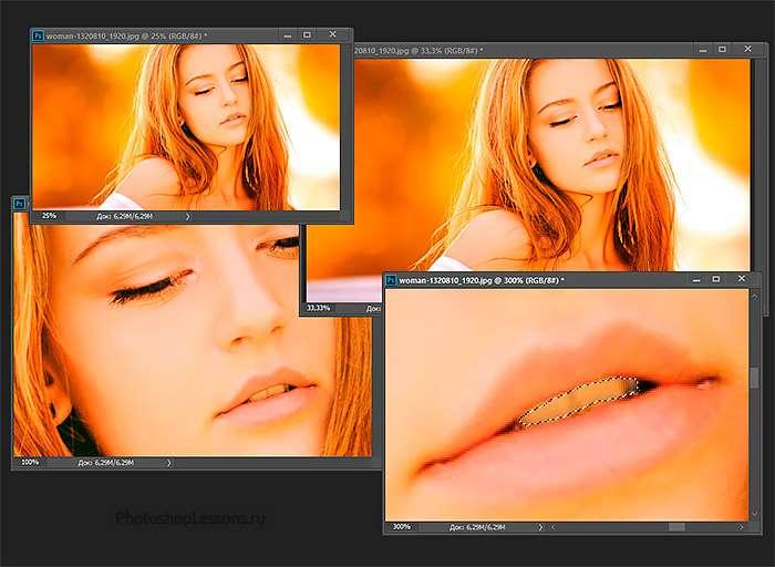 Пример использования нескольких окон одного изображения в Фотошопе