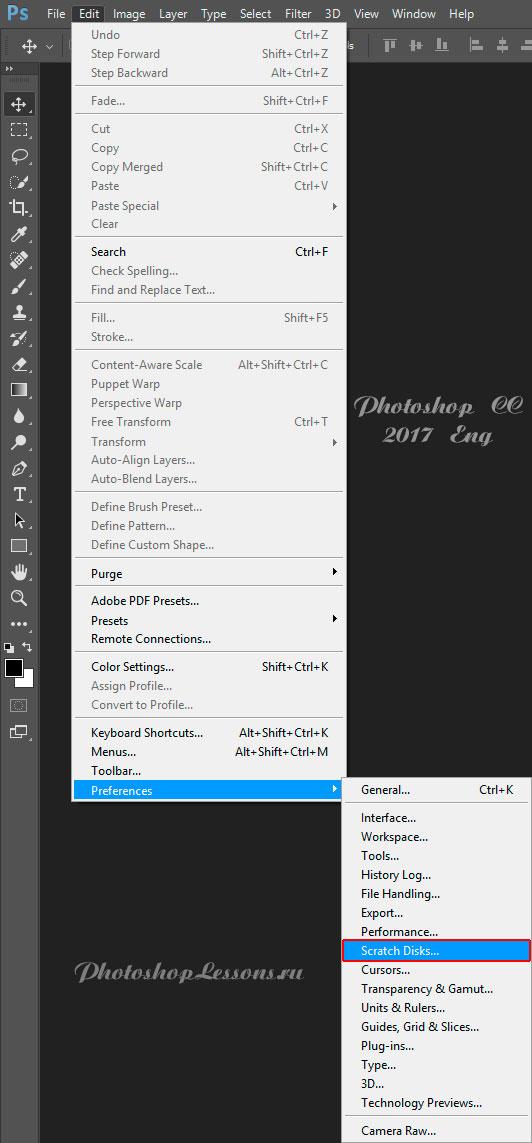 Перевод Edit - Preferences - Scratch Disks (Редактирование - Настройки - Рабочие диски) на примере Photoshop CC (2017) (Eng)